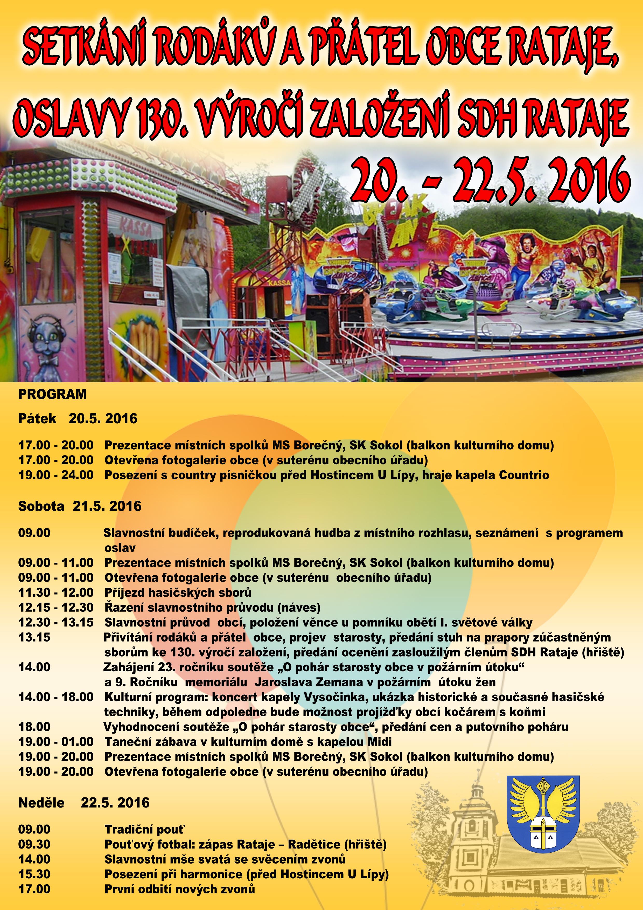 Setkání rodáků a přátel obce a oslavy 130. výročí založení SDH Rataje
