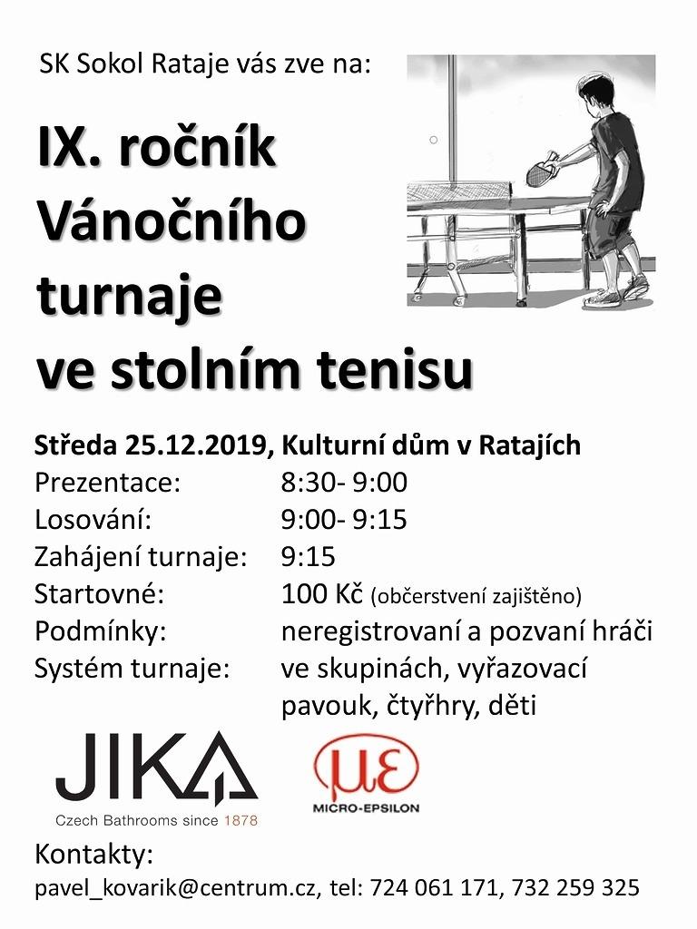 pozvánka IX. ročník Vánočního turnaje ve stolním tenisu