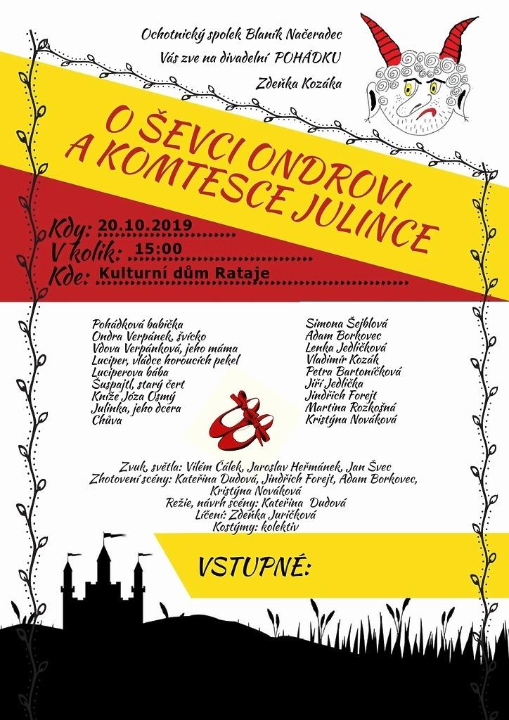 Pozvánka na dětské divadelní vystoupení 20.10. v 15:00